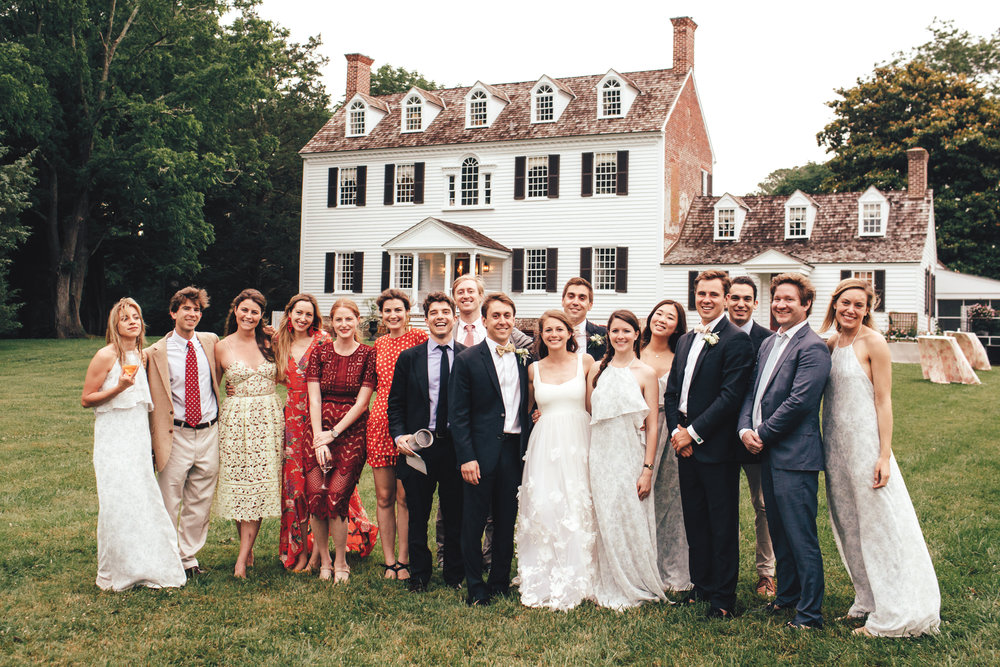 A strong St. Paul's School contingent at the wedding of Danielle Covatta '07 and Nick Riva '07 (l. to r.): Bissy Riva '14, Aaron Bembenek '07, Carrie Read '07, Alix Dana '07, Chloe Squires '07, Karl Schoch '07, Alec Lindsay '07, Nick, Danielle, Christian Riva '10, Anna Covatta '05, Esther Kwon '08, Timothy Higgins '07, Diego Núñez '08, John Lechner '07, and Hilary Hall '07.