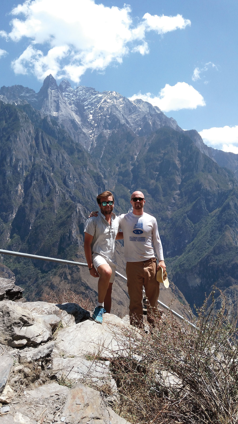 High up in the Tiger Leaping Gorge in Yunnan Province of Southern China with Noah Elbot '09 (l.) and Coleman Saunders '09.