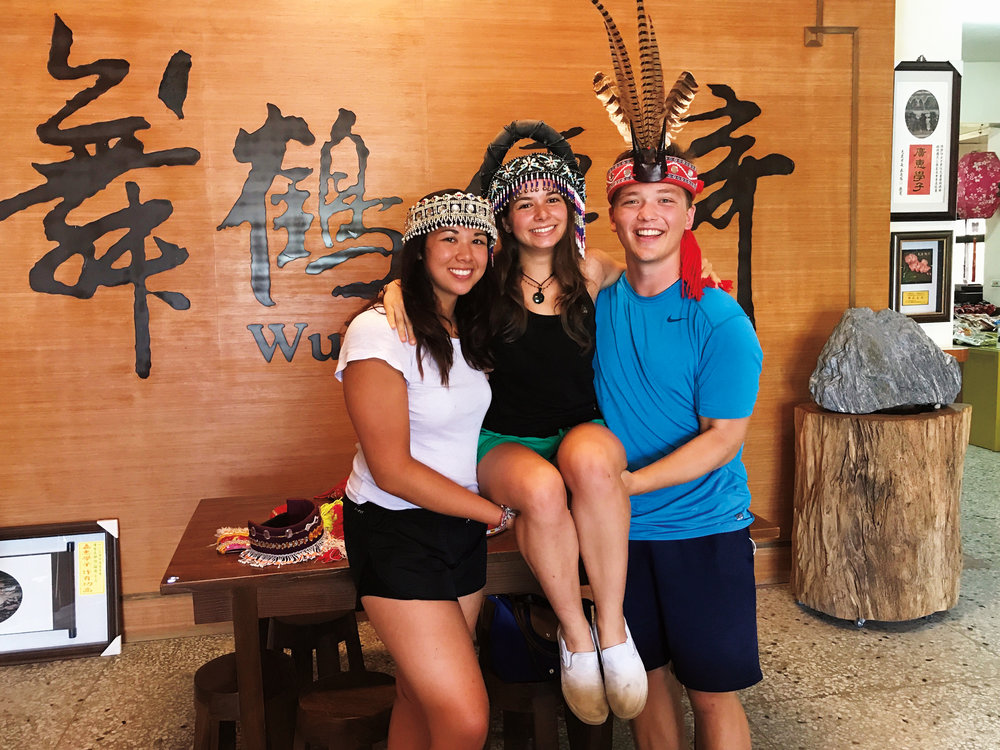 Formmates (l. to r.) Maddie Mahre '17, Alexandra Contomichalos '17, and Doug Robbins '17 celebrated their recent graduation with a trip to Greece, Indonesia, Taiwan, Korea, and Hawaii.