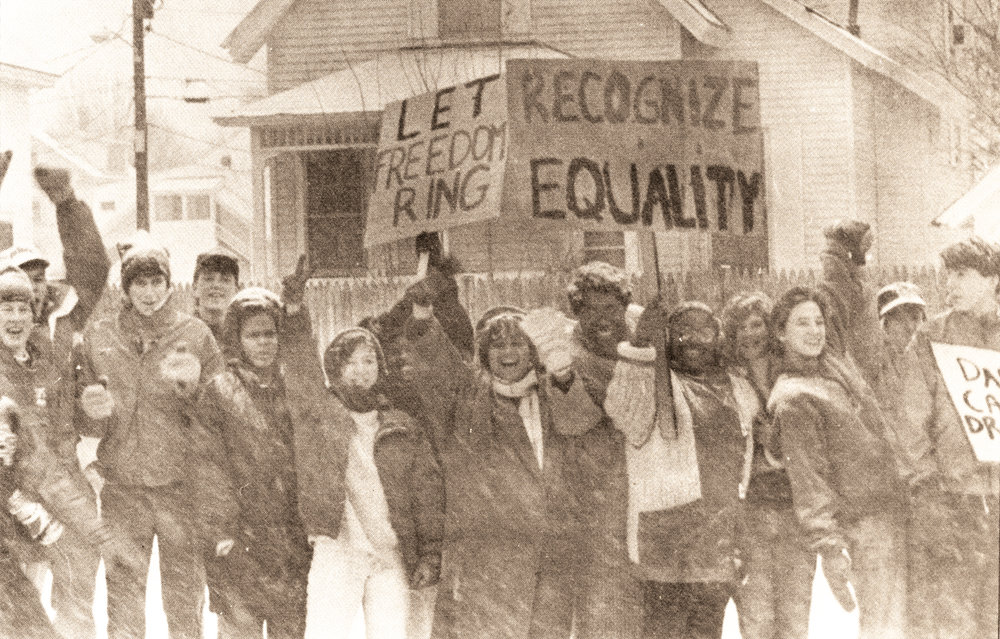 Freedom rings in N.H.: Students organized a School-wide march on the State House in 1990 (Photo: January 18, 1990  Pelican ).