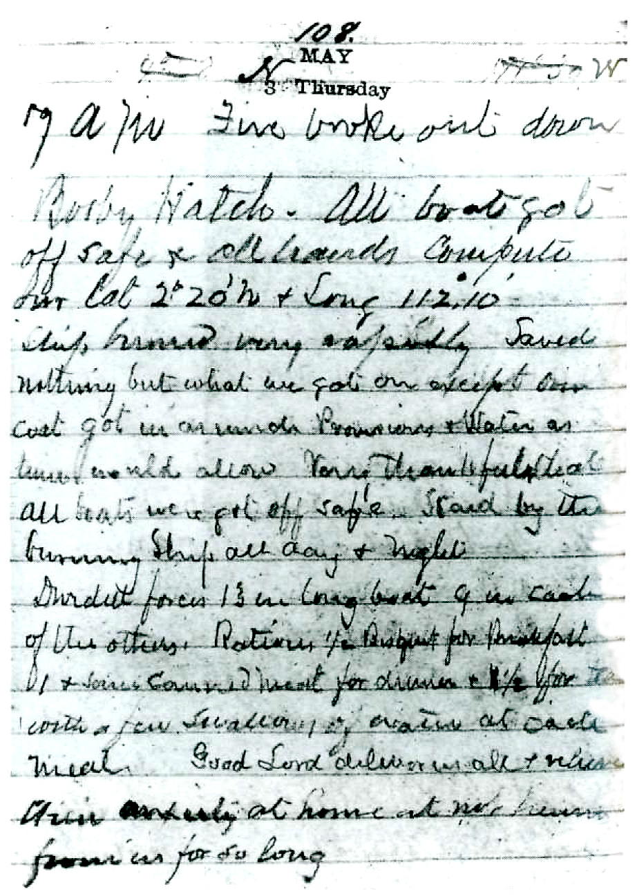 A page from Samuel Ferguson's journal writen on the day the  Hornet  burned.