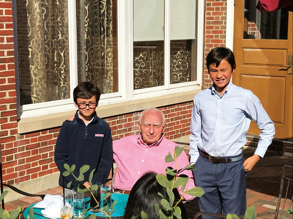 Anthony Sehnaoui '86 (not pictured), returned to SPS this fall with sons Eli (l.) and Zach (r.) and father Elie.