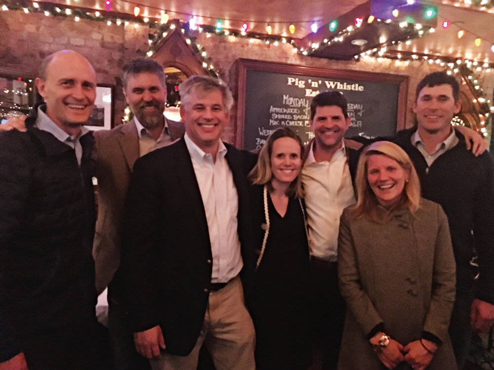 (L. to r.) Formmates from 1992 Benton Moyer, Alex Millar, Mark Smith, Connie Cocroft Brown, John Dillon, Catherine Goodrich Carlson, and Alex Blake gathered in New York City in the fall to celebrate Alex's wedding.