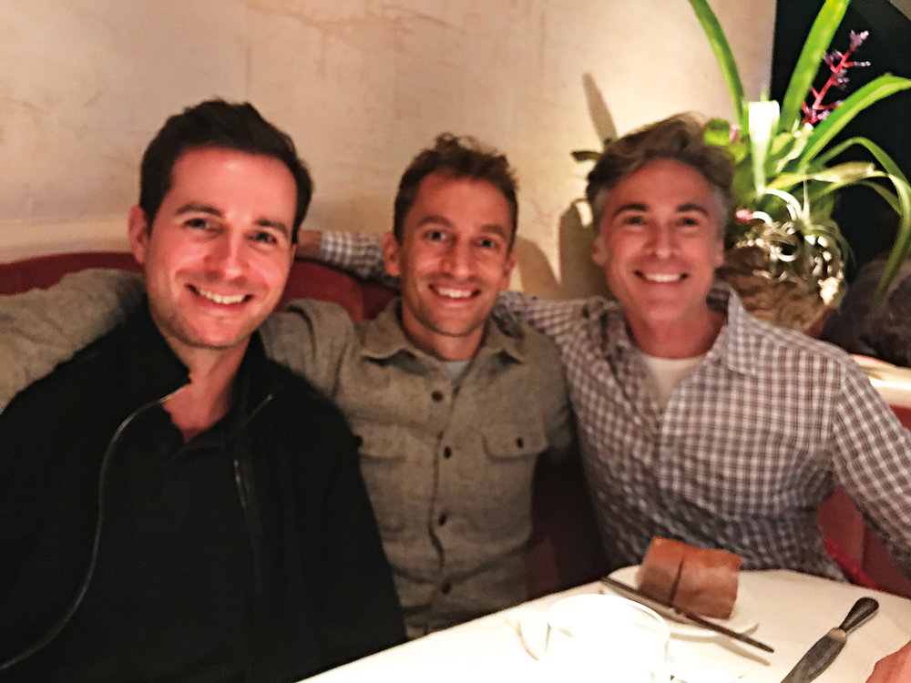 (L. to r.) Steve Lemay '93, Alexey Salamini '95 and Chris DeCenzo '93 catching up in San Francisco after a recent SPS event.