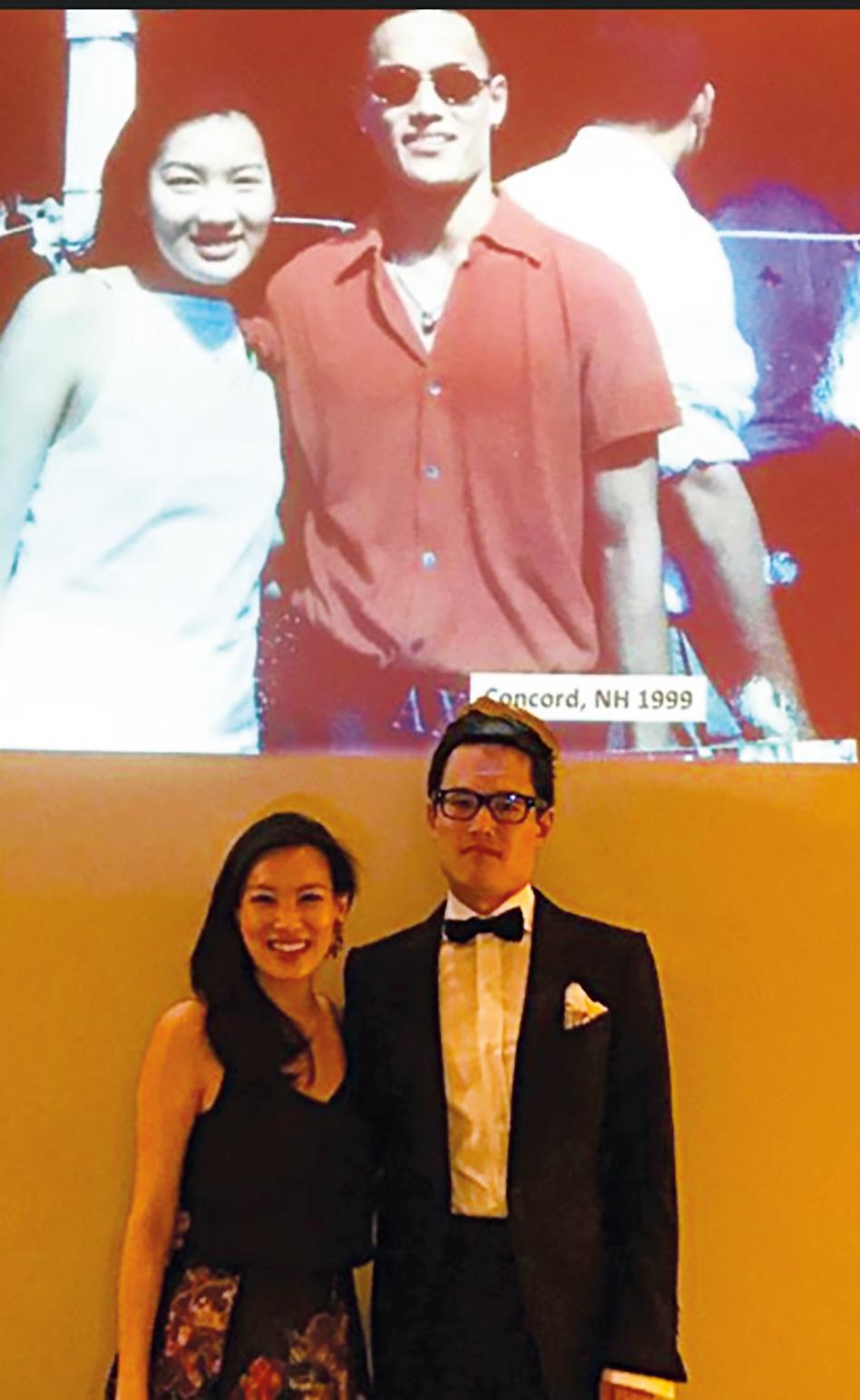 Joyce Tam '99 (l.) and Sun Chuan Dai '98 recreate a photo taken at Joyce's graduation from SPS.