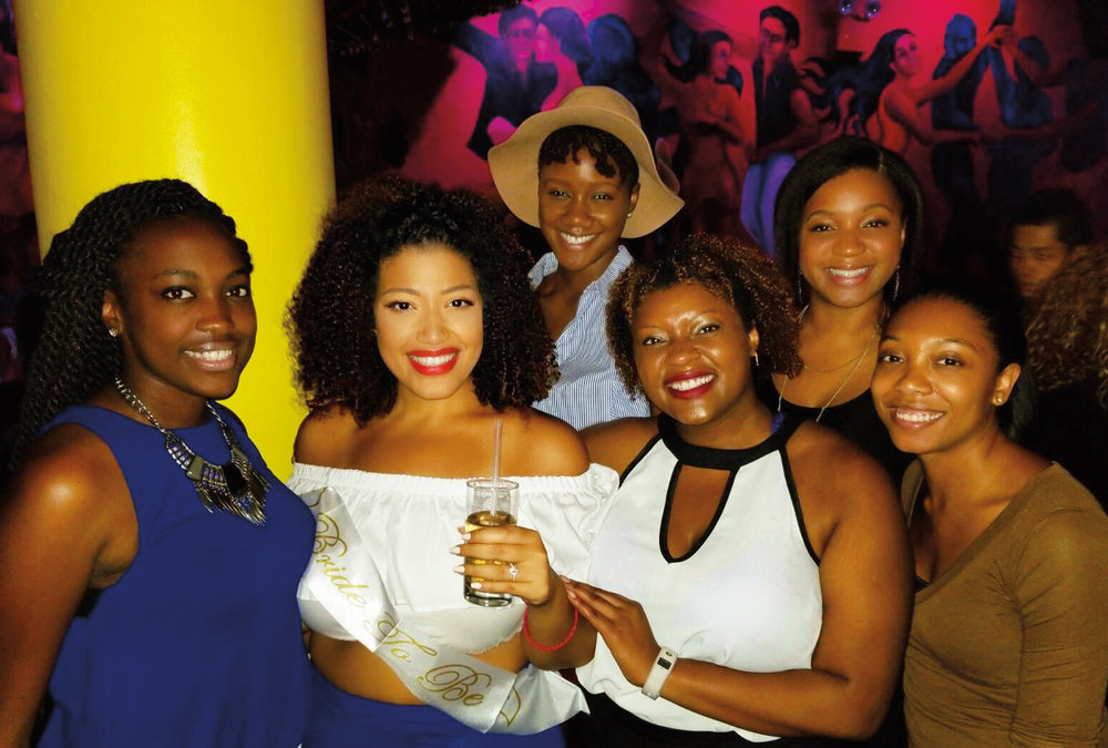 (L. to r.) Stephanie Quaye '07, Briana Soto '06, Dialika Sall '08, Javonni Judd '05, Erica Deane '07, and Kyaira Holmes '07 at Briana's engagement party in N.Y.C.