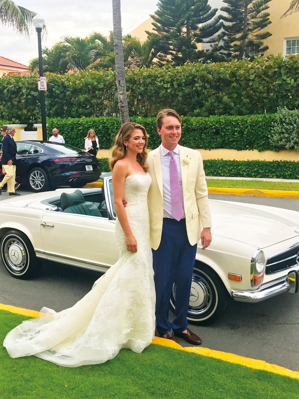 Charlotte Ross '06 with her husband, Alex Canet, at their wedding in Palm Beach, Fla.