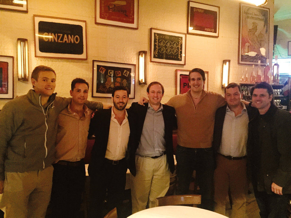 (L. to r.) Jamie Wilson '08, Christopher Beisswenger '08, Jason Bourgea '08, Benjamin Karp '08, Tom Hearne '08, Charles Vennat '07, and Mike Ott '08 had dinner in N.Y.C.