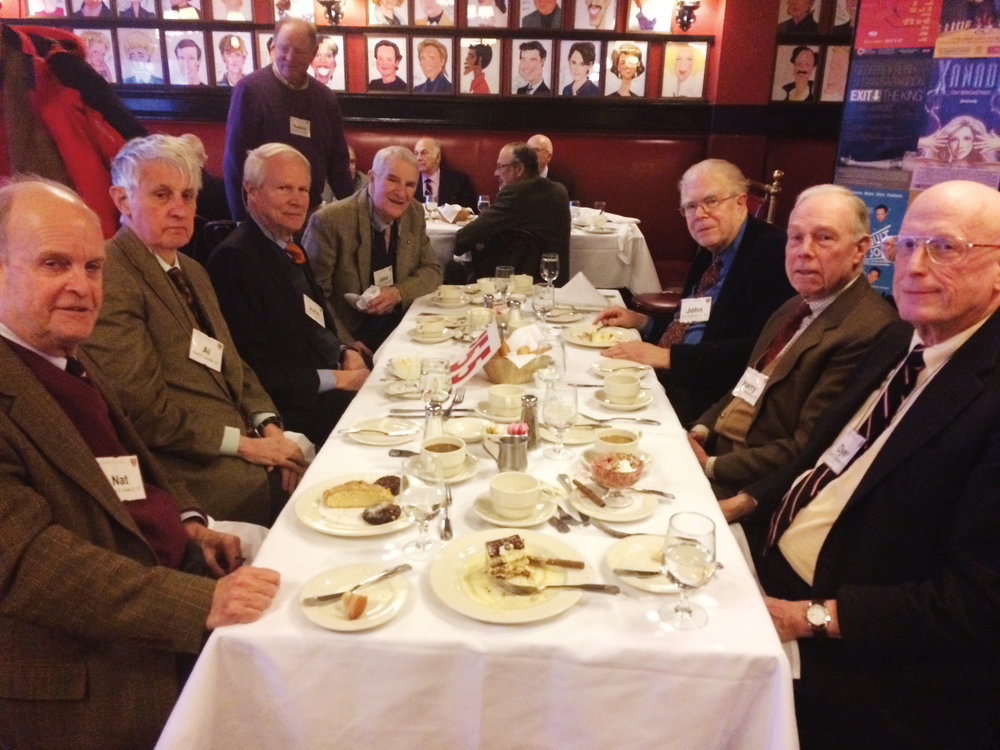 (L. to r.) Nat Howe '55, Albert Gordon '55, John Horan '55, Jake Roak '55, John Holbrook '55, Harry Wilmerding '55, and Dyer Wadsworth '55 enjoying lunch at Sardi's in New York City.