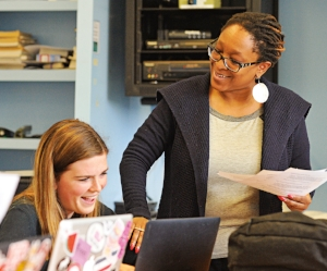Mashadi Matabane (r.) guides students in her role as associate dean for equity and inclusion.