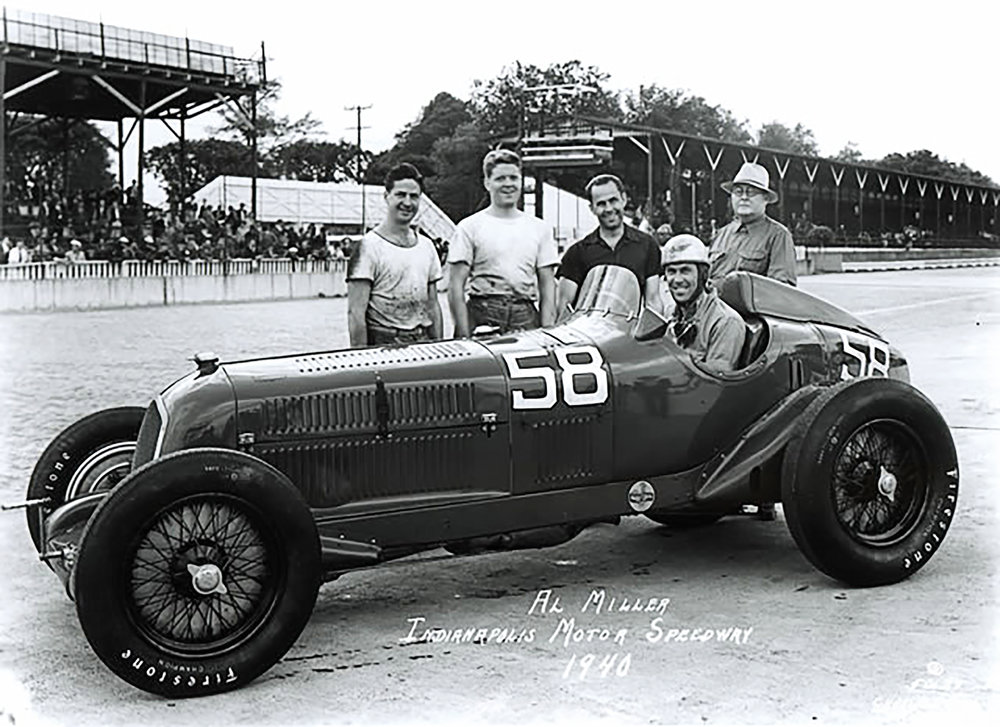 Griswold's father, Frank '32, second from left, was in Indianapolis with his Alfa Romeo P3 ex Count Villapaderna on the day Stephen was born.