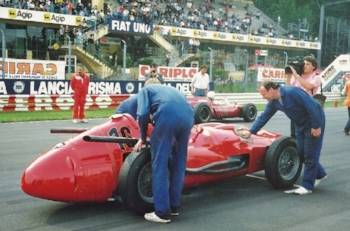 Maserati 1957 250F V12 at the Starting Line up, Monza, Italy.