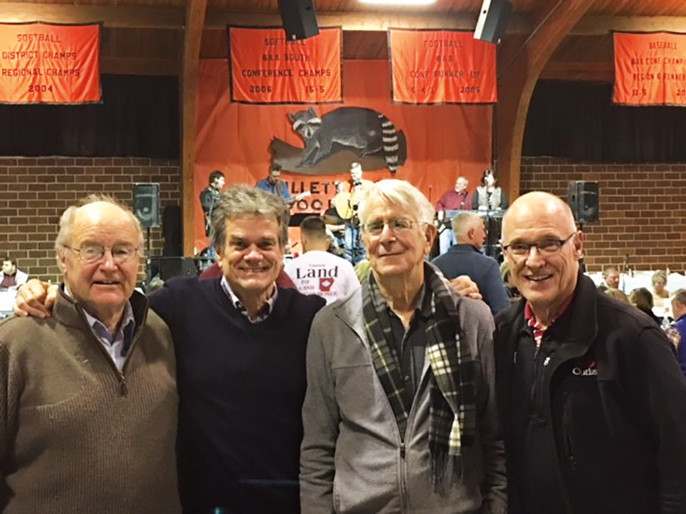 Members of the Form of 1964 (l. to r.) Peter Gerry, Bill Gordon, Ashley Higgins, and Haven Pell dined on raccoon at the 75th Annual Gillett Coon Supper in Gillett, Ark., in January.