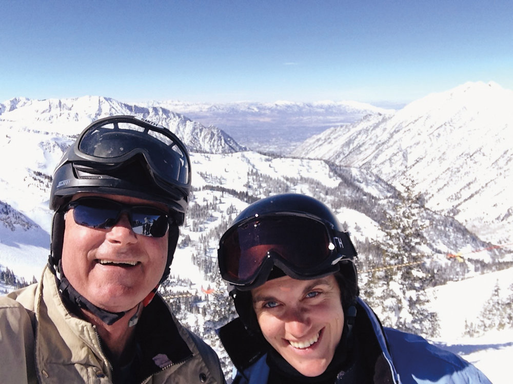 Dennis Dixon '71 (l.) and youngest daughter Deede celebrated their 65th and 30th birthdays, together at Snowbird this winter.