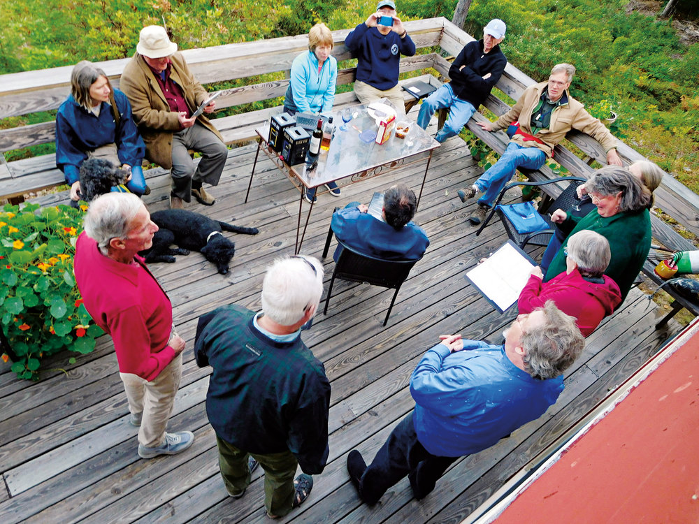 John Howard '71 and his husband, Steve Harris, hosted Hugh Schmidt '71 and his wife, Sonia, and John's brother, Rob '62, and his vocal group, the Concord Vocal Octet, in Maine.