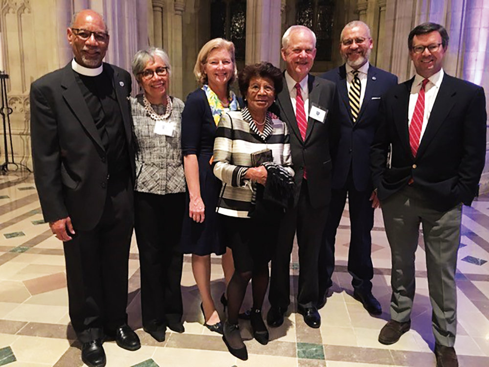 A handful of Paulies attended the 10th anniversary celebration for the Bishop Walker School at the Washington National Cathedral (l. to r.): Preston Hannibal (former faculty) and Sandi Hannibal, Sarah Bankson Newton '79, Maria Walker (widow of former faculty Rt. Rev. John T. Walker), Tony Parker '64, James Woody (head of Bishop Walker School), and Sam Reid '81.