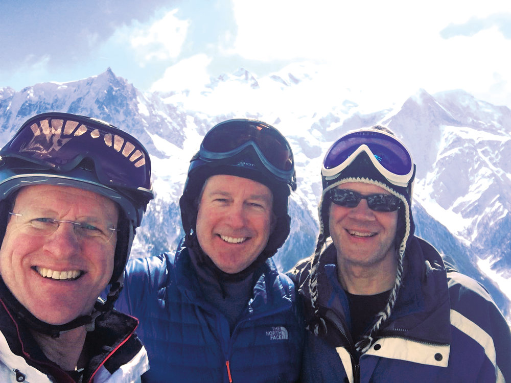 Paulies (l. to r.) Jack Corsello '83, Morris Barrett '83, and Nicolas von der Schulenburg '84 during their Alps ski rendezvous in Chamonix, France.