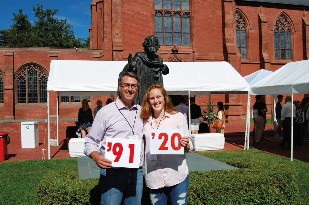 Proud parent David Fleischner '91 with daughter Margaret '20 at SPS opening day last fall.