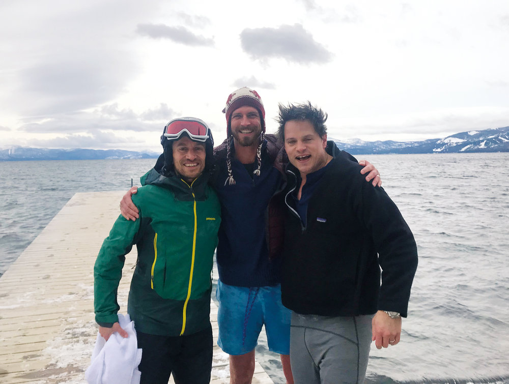 (L. to r.) Alexey Salamini '95, Nick Kelley '96, and Chris Kelley '94 took a post-winter swim in Lake Tahoe.