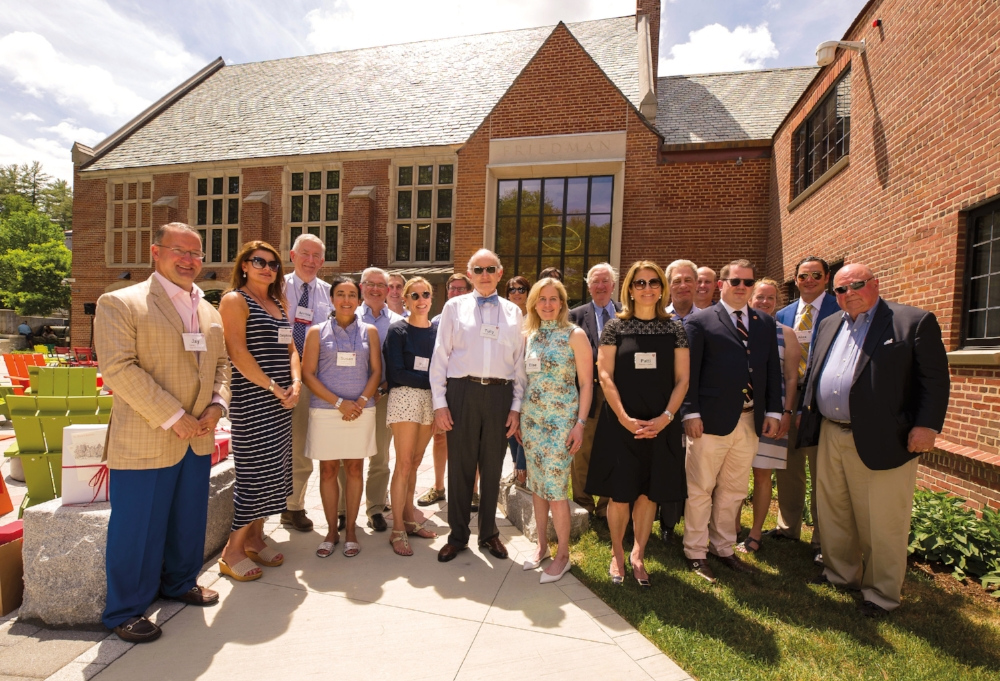 (L. to r.) Jay and Delphine Morton P'18,'20, Archie Cox, Jr. '58, Susan and Peter-Paul Covo P'18,'21, Eric M. Ruttenberg '74, P'13,'15,'18, Allison Hanley Frantz '83, Matthew Baird II '83, P'21, Tully Friedman P'17'17, Dana and Gregory Lee '82, P'18, Elise Friedman P'17'17, Robert Holt P'85, Patricia and George Raffini P'07, '10, John Avery P'17,'20, Ward Atterbury '85, Jill Avery P'17, '20, Alex Holt, and Rennie Atterbury III '56, P'85.