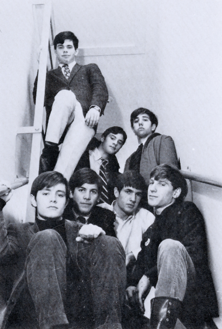 Cinema Society in 1968 – (l. to r.) front: Lloyd Fonvielle, Will Whetzel, Tim Belton, Rick King; back: Derrick Balsam, Langdon Clay, and Hugh McCarten.