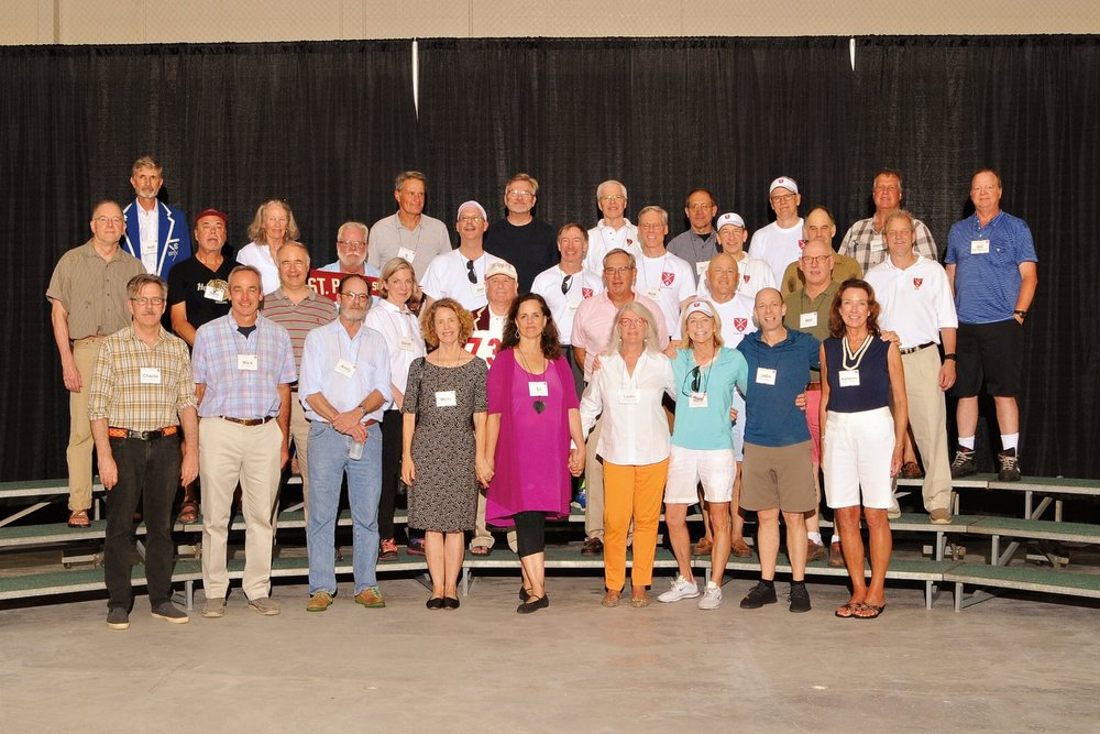 (L. to r.), row 1: Charlie Marburg, Mark Walsh, Andy Carpenter, Molly Wheelwright, Sil Read, Linda Holt Fairchild, Heidi Horner, John Campbell, Katherine McMillan; row 2: Clive Altshuler, Sarah Cecil, Rob Deans, Alex Kulch, Homer Chisholm, Will Neilson; row 3: Mike Prentice, Gary Hodder, Rick Kidder, Joel Backon, George Estes, Rich Jenkins, Ladd Connell, Spero Latchis, Alden Stevens; row 4: Hull Fulweiler, Lili Andrews, Q Belk, Griff Griffin, Hal Granger, Jeremy Wintersteen, Pete Homans, Horace Henriques, and Bill Matheson.