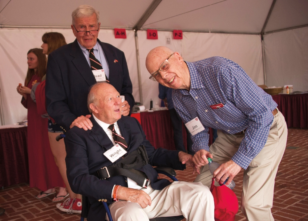 Wright Olney, Jim Hammond, and Read Charlton reconnect at the Form of 1953's 65th Reunion.