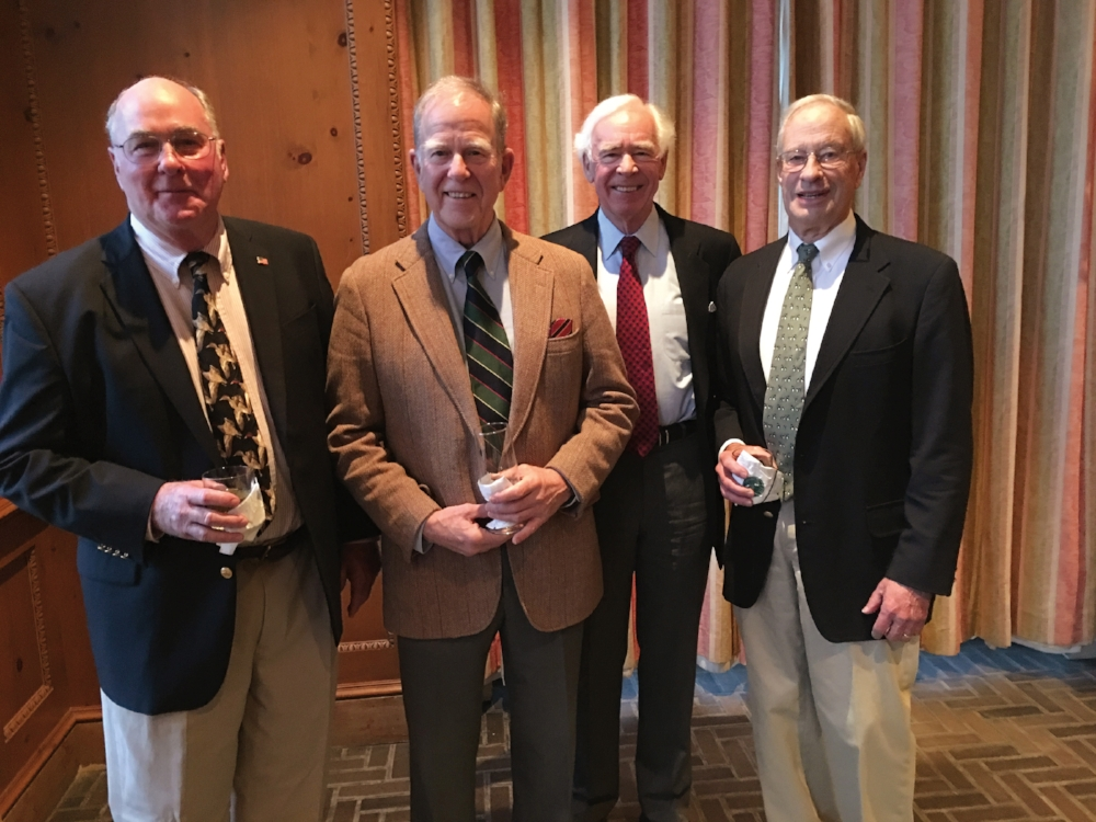 (L. to r.) Bill de Haven '57, Sandy Holloway '57, David Hunt '57, and Jim Darby '54 attended the 31st Annual Duck Dinner in Sewickley, Pa.