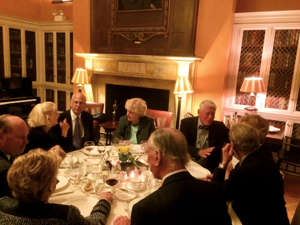 Members of the Form of 1960 gathered for dinner at the Harvard Club in New York City.