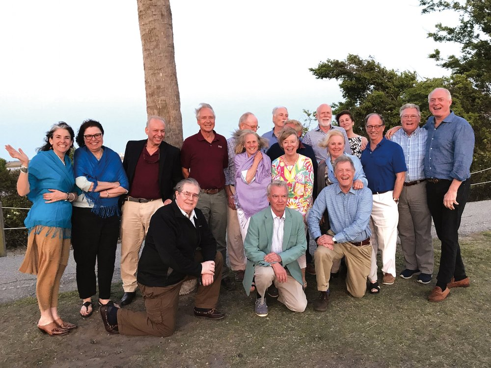 Members of the Form of 1969 and their significant others at a pre-50th reunion gathering in Charleston, S.C. (L. to r.) back: Susan Simons, Cheryl Hickox, Mike Livanos, David Burling, Dave LeBreton, Charlie Hickox, Duncan McPherson, Doug Stewart, Susan Stewart, Eliot Larsen, John Hagerty; middle: Annie LeBreton, Gail Larson, Gale Hunt, Chris Ross; front: Trip Farnsworth, Tom Iglehart, and Terry Hunt.