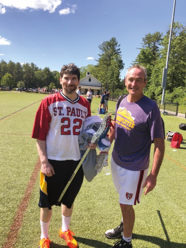 1973 Formmates Scott Taylor (l.) and Mark Walsh, after the SPS alumni lacrosse game.