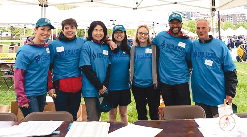 Alison Zetterquist '76 coordinated an SPS Sparks initiative for the Epilepsy Foundation of New England's Boston Walk for Epilepsy on May 12. In attendance were (l. to r.) Catherine Koveal, Karl Schoch '07, Maureen Wang, Muriel Wang '16, Alison, Harlem Logan '89, and Bobby Clark '61.