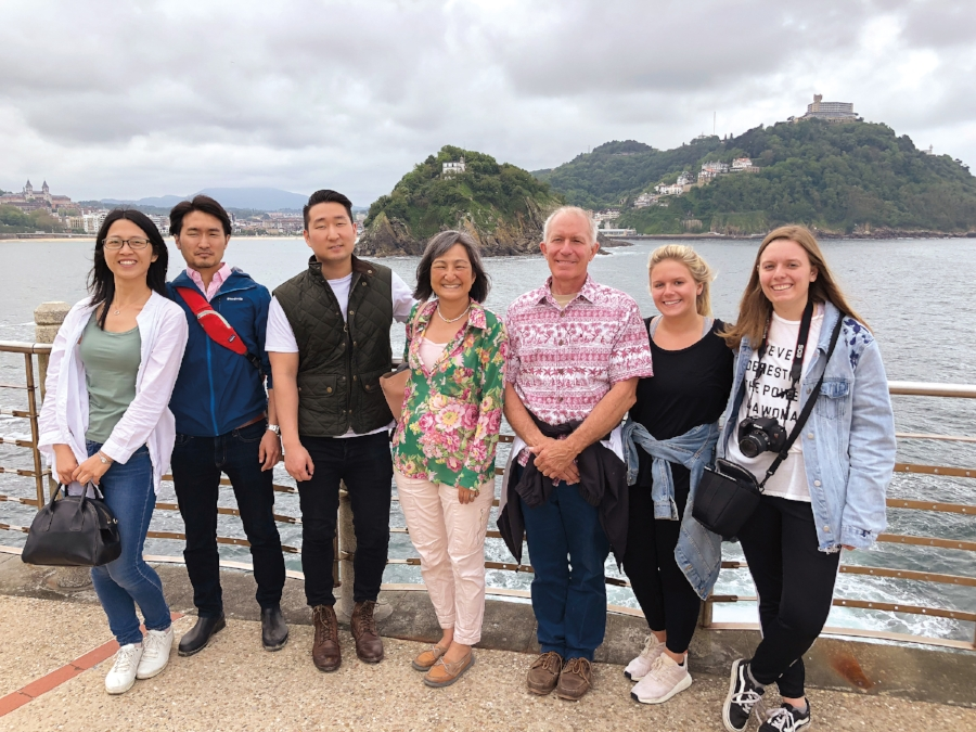 Amy Nobu '78 and Curtis Starr '78 with their children, Masaru Nobu '07, Shigeru Konishi '10, Calla Starr, Natalie Starr, and Miaomiao Liu, on a family trip in San Sebastian, Spain.