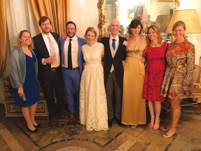 Isabella Calder '95 and Rafael Taboada were married on March 10, 2018, in Florence, Italy. (L. to r.) Isabel Smith Margulies '94, Ned Rauch '94, Tim Wallack '94, Isabella, Rafael, Nelly Calder '90, Grace Evans '95, and KT Taylor '93 were on hand to celebrate. (Not pictured: Williams Swift Martin IV '79)