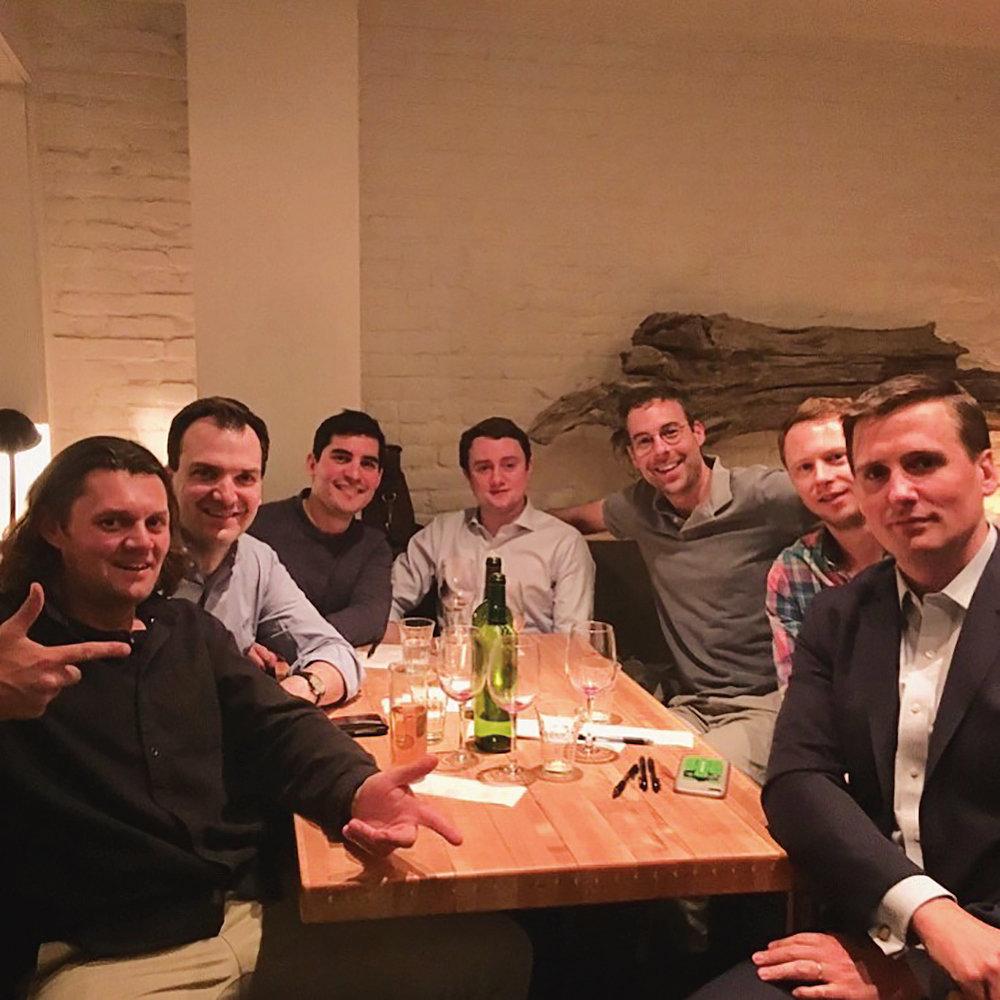 Mike Shreve '02 and Miller Resor '02 joined formmates Will Dunn, Willie Evarts, Garrett Drinon, Matt McLane, and Alex Hearne at their regular dinner in New York City.
