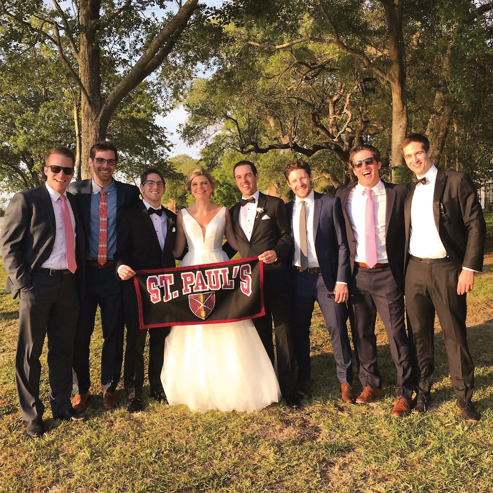 Mark Stevens '05 and Lacee Steenbergen were married on April 26 in Charleston, S.C. Paulies in attendance were (l. to r.) Trent Blossom '06, Emerson Tuttle '05, Andrew Stevens '08 (best man), the bride and groom, Kevin Kaiser '06, Ryan Blossom '05, and Evan Seely '06, who officiated the wedding.