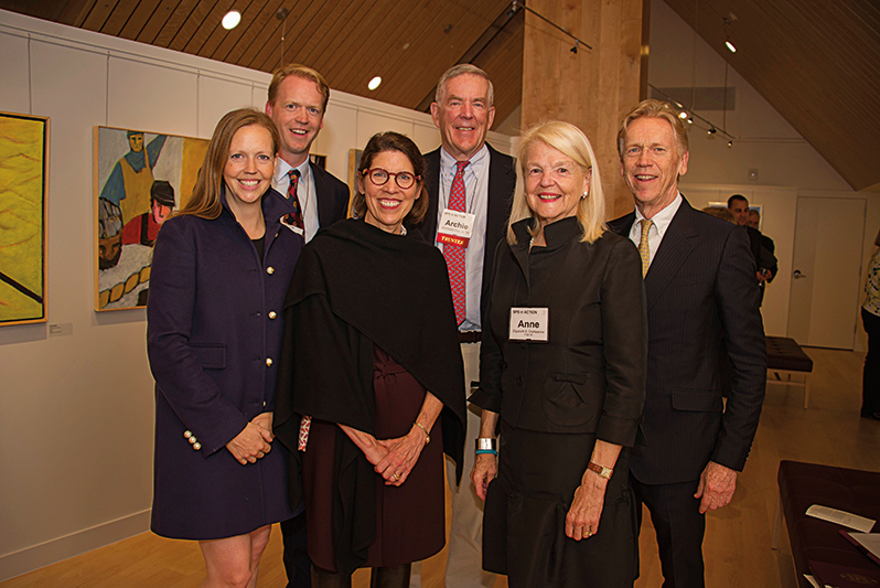 (L. to r.) Catherine Stafford '94, Jimmy Crumpacker '98, Interim Rector Amy Richards, Board of Trustees President Archibald Cox, Jr. '58, Anne Crumpacker P '94, '98, and James Crumpacker P'94, '98 at the opening of the Crumpacker Gallery.