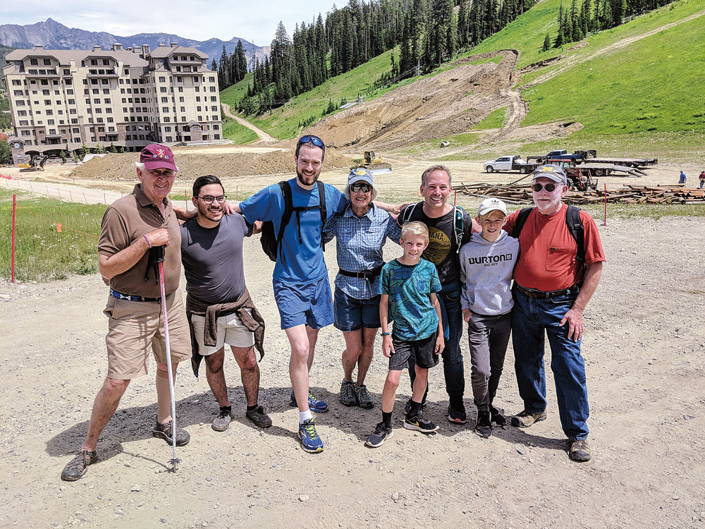 (L. to r.) Jim Taylor '63, P'90, Colton Timmerman '11, Mike Habermann '10, Sandi Blake P'92, '94, Keith Lauver '88 and sons, and John Fletcher '65 enjoyed a hike.