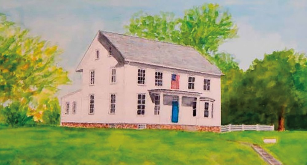 A portrait of the Clawson House by Fred Gardner '51, on display at the opening exhibit of the East Amwell Museum in Ringoes, N.J.