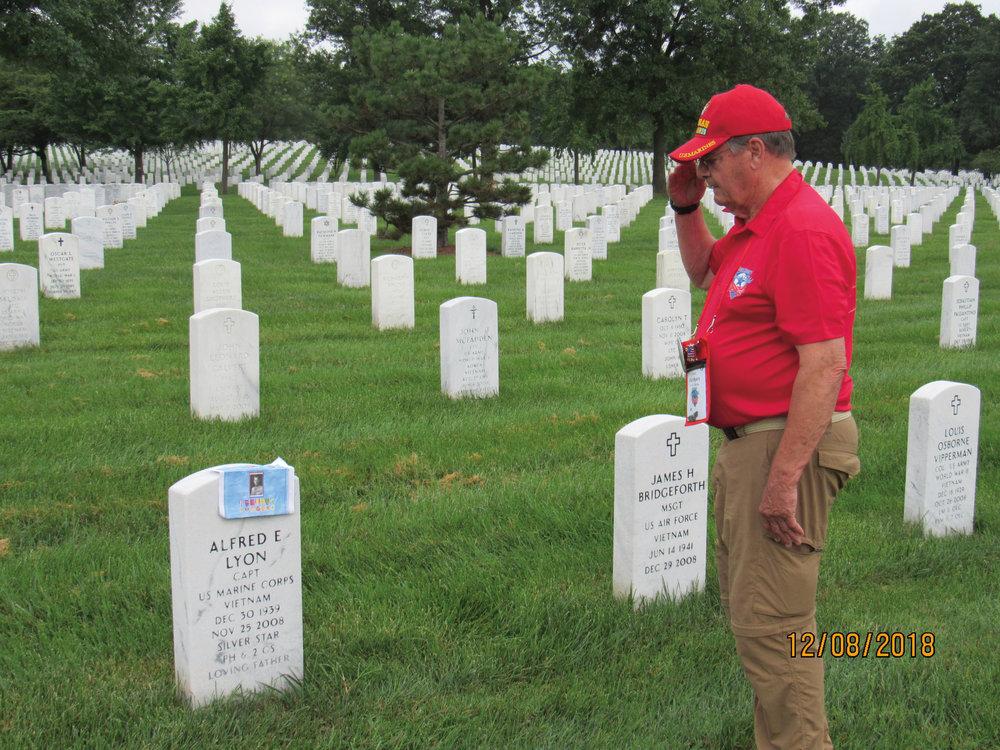 Allen Ayers '58, honoring fellow Vietnam veterans Hunter Shotwell '58 and Al Lyon.
