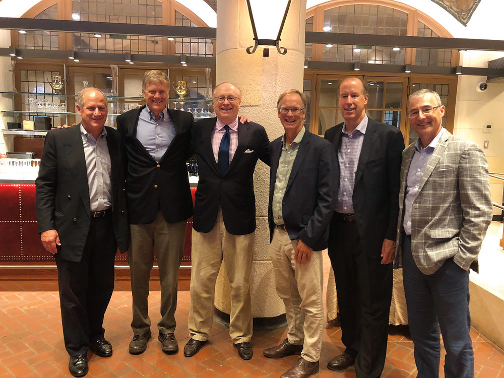 (L. to r.) Jon Sweet '78, Bill Reynolds '77, Mitchell Kelly '78, Allen Hance '77, Chris Willis '77, and Tom Luz '78 at the memorial celebration for Sandy Kaynor '77.