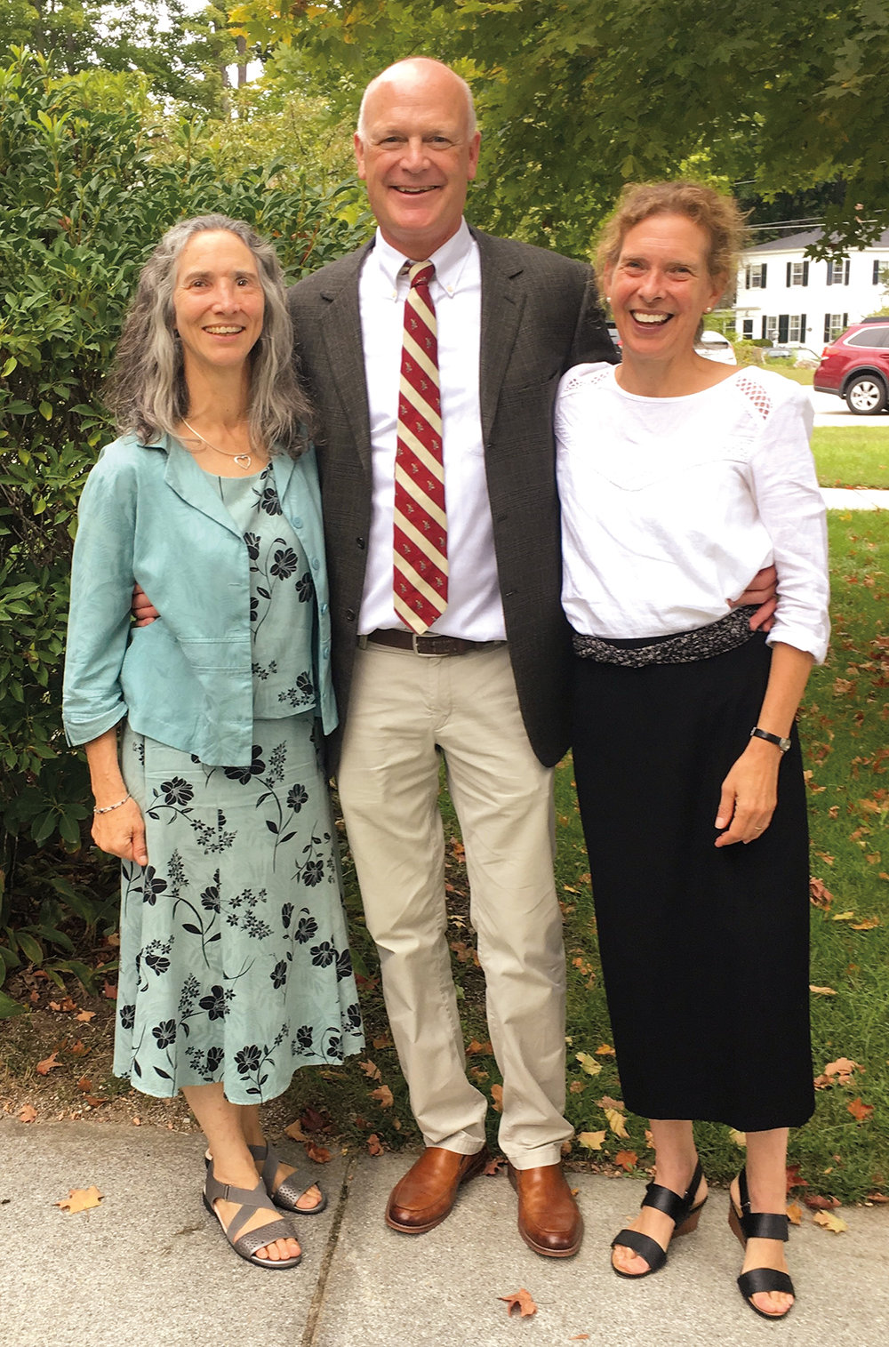 Form of 1978 formmates (l. to r.) Edie Farwell, Sam Chase, and Nora Tracy Phillips at the September memorial service for George Chase.