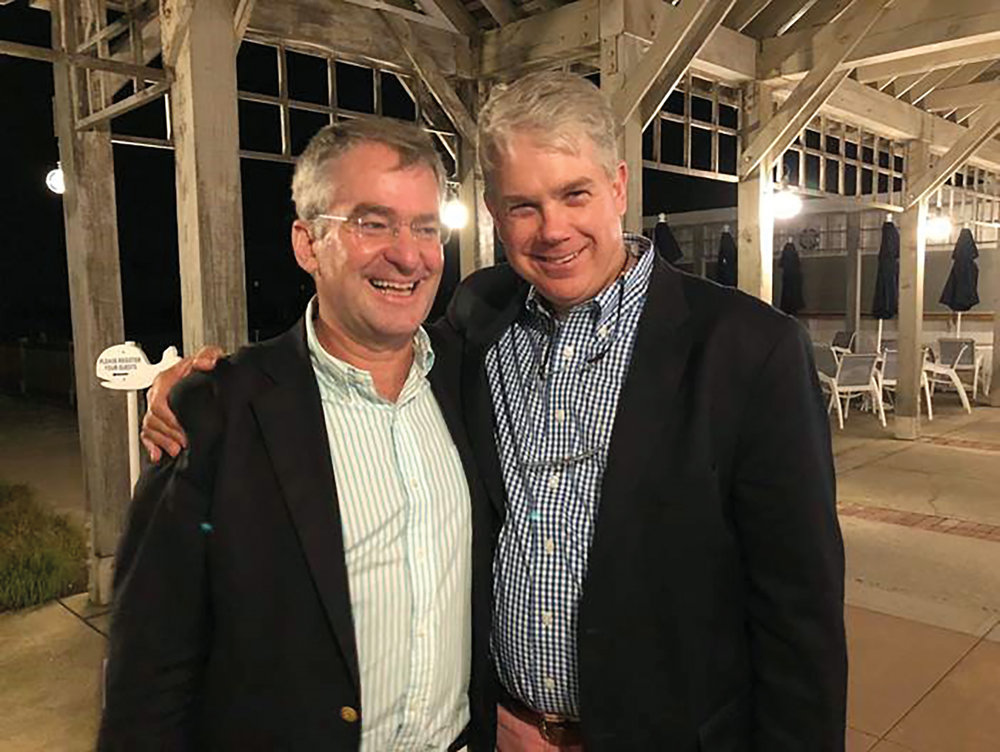 Carl Weatherley-White '81 (l.) and Peter Paine '81 looking distinguished in Locust Valley, N.Y.