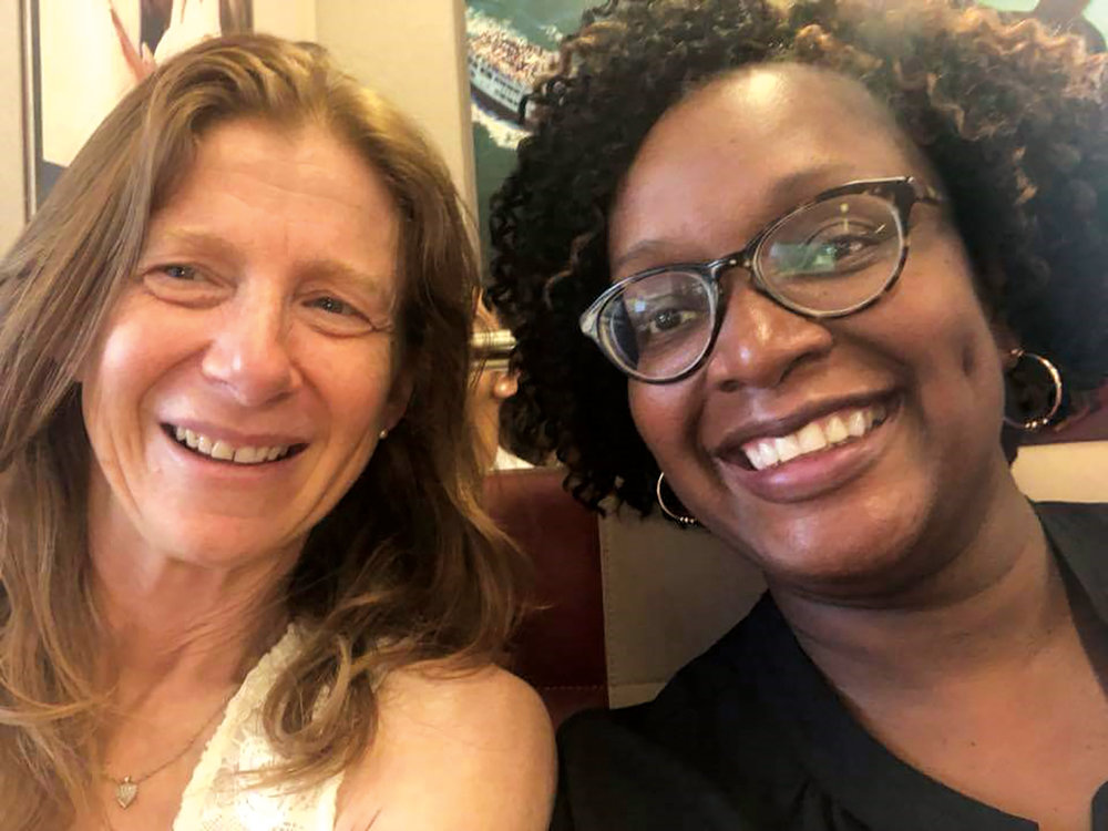 Fiona Sanders '83 (l.) and Denise Goodman '83 were reunited this summer through a mutual friend's Facebook post.