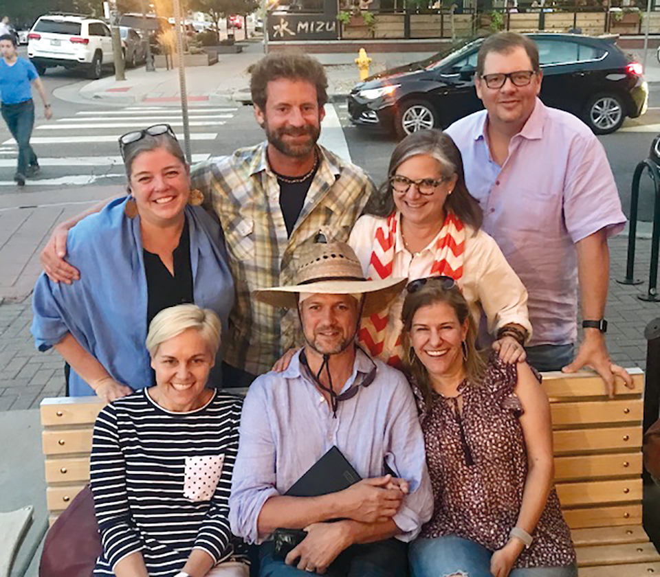 The Form of 1989 was well represented in a meeting in Denver this summer (l. to r.) back: Andrea Greer, Andrew Balser, Amy Beattie and David Kolojay; front: Laura Lepler Munro, Dave Letuhold, and Kate Gellert.