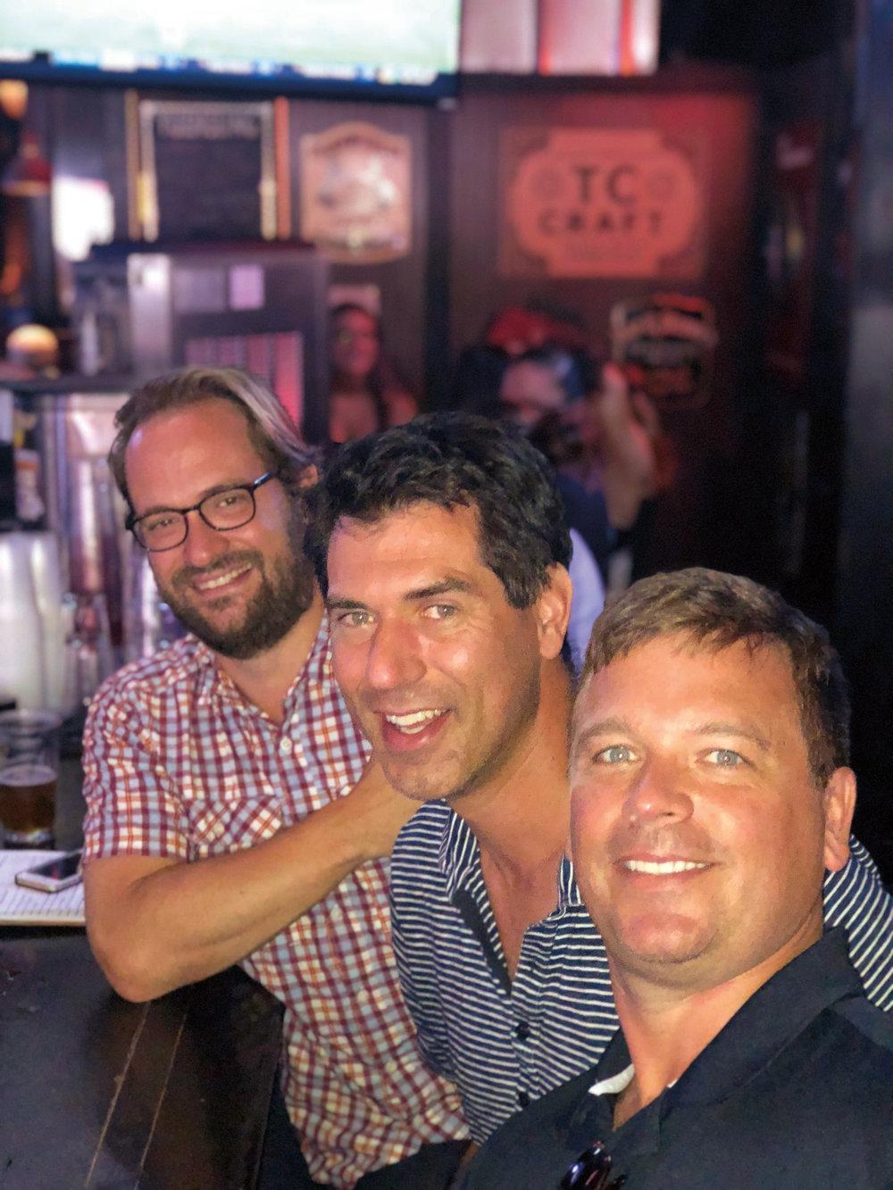(L. to r.) Charles Finlay '94, Andrew Fagenholz '94, and Gunner Blackmore '94 met up in Nashville, Tenn.