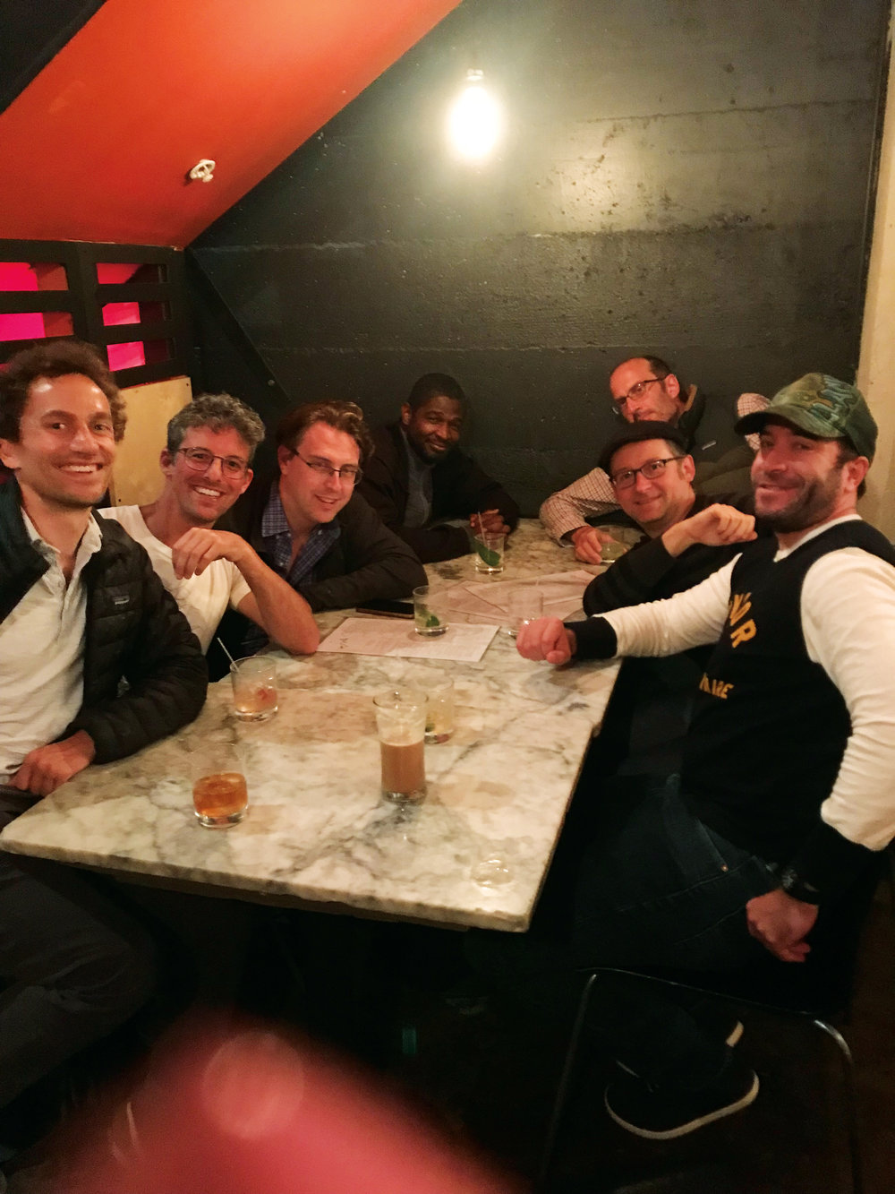 (L. to r.) Alexey Salamini '95, Adam Simons '95, Gordy Rogers '95, Dahni-El Giles '95, Charlie Koven '94, Mike Godwin '95 and Tim Wallack '94 in Oakland, Calif.