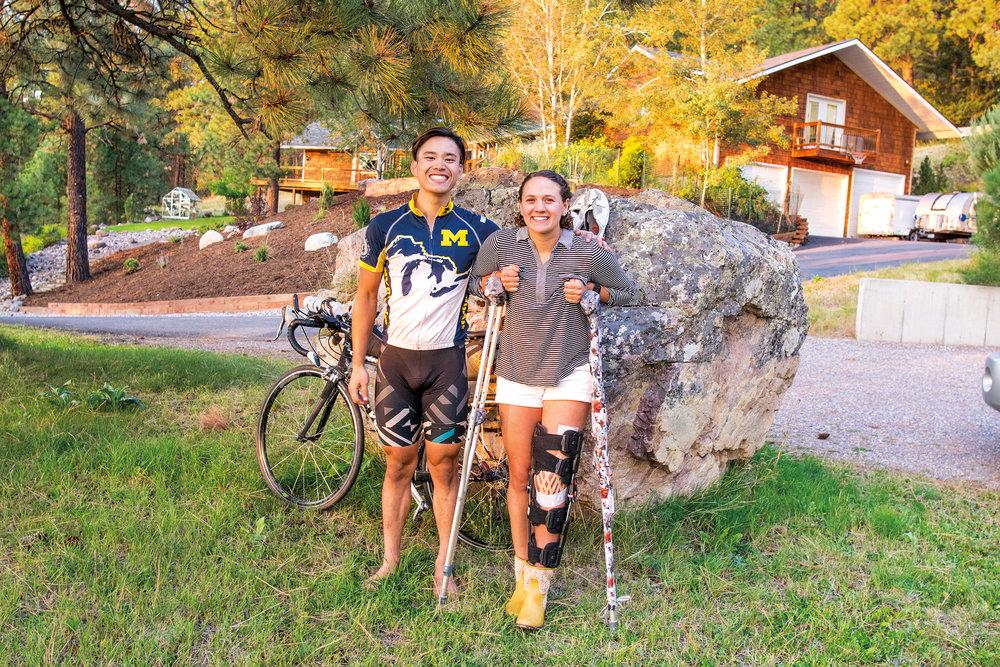 Tay Tantivirun '14 (l.) visiting Jade Thomas '16 during his bike trip from Seattle to Michigan.