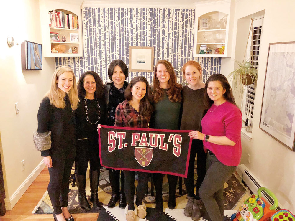 Boston  (L. to r.) Olivia Dickey '11, Melissa Solomon '80, Madeline Wang '93, host Lindsay Dean-Mayer '04, Alex Hoffmann '04, Clara Hunnewell '13, and Kristen Deane Campbell '02.