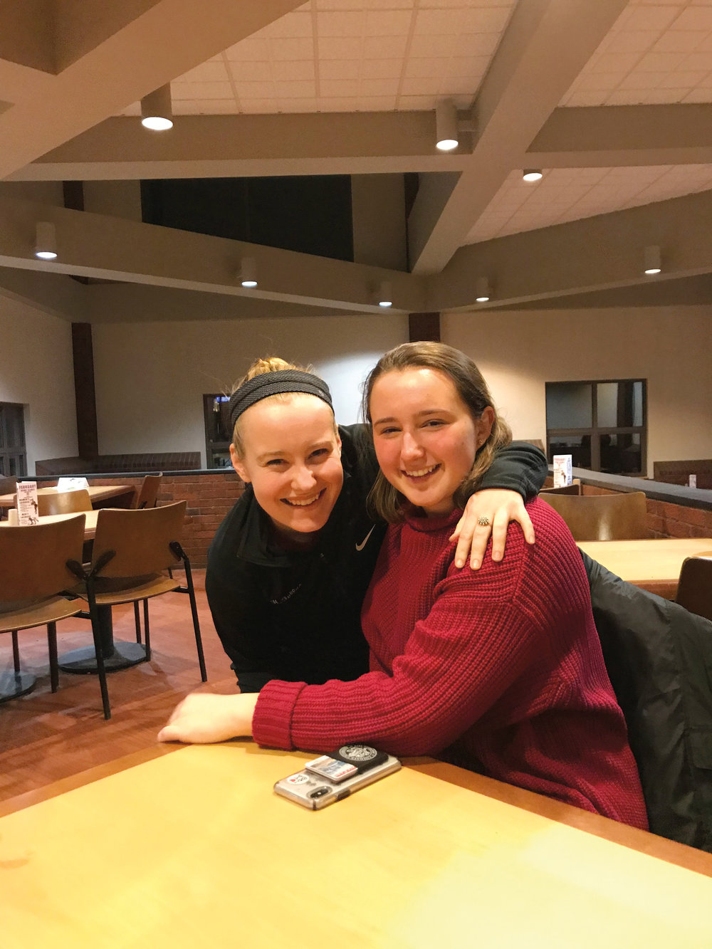Hamilton, N.Y.  Haley Fuller '18 (l.) and Willa King '18 joined in.